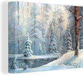 Canvas Schilderij Winter - Schilderij - Bos - 40x30 cm - Wanddecoratie