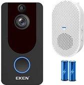 Eken - 1080P Video Deurbel V7 Zwart + Accu`s en Gong - Zeer hoge resolutie 1080p HD - Draadloze Deurbel