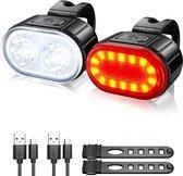 FIEZIO Fietsverlichting Set Ovaal - Oplaadbare USB Led Fietslamp - Voor en Achter - Waterdicht - 4 Lichtstanden - Zwart