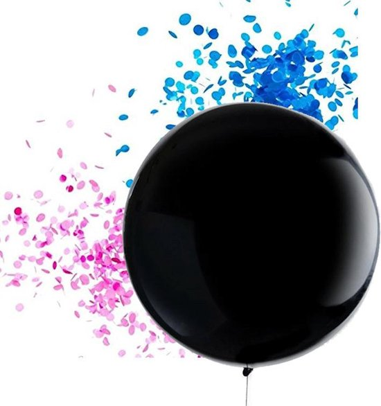XL Gender Reveal ballon 91cm met blauwe confetti | confettiballon