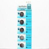 Suncom CR1632 Knoopcel Batterijen - (5 stuks) DL1632, BR1632, KL1632, L1632, ECR1632, KCR1632, E-CR1632, KECR1632