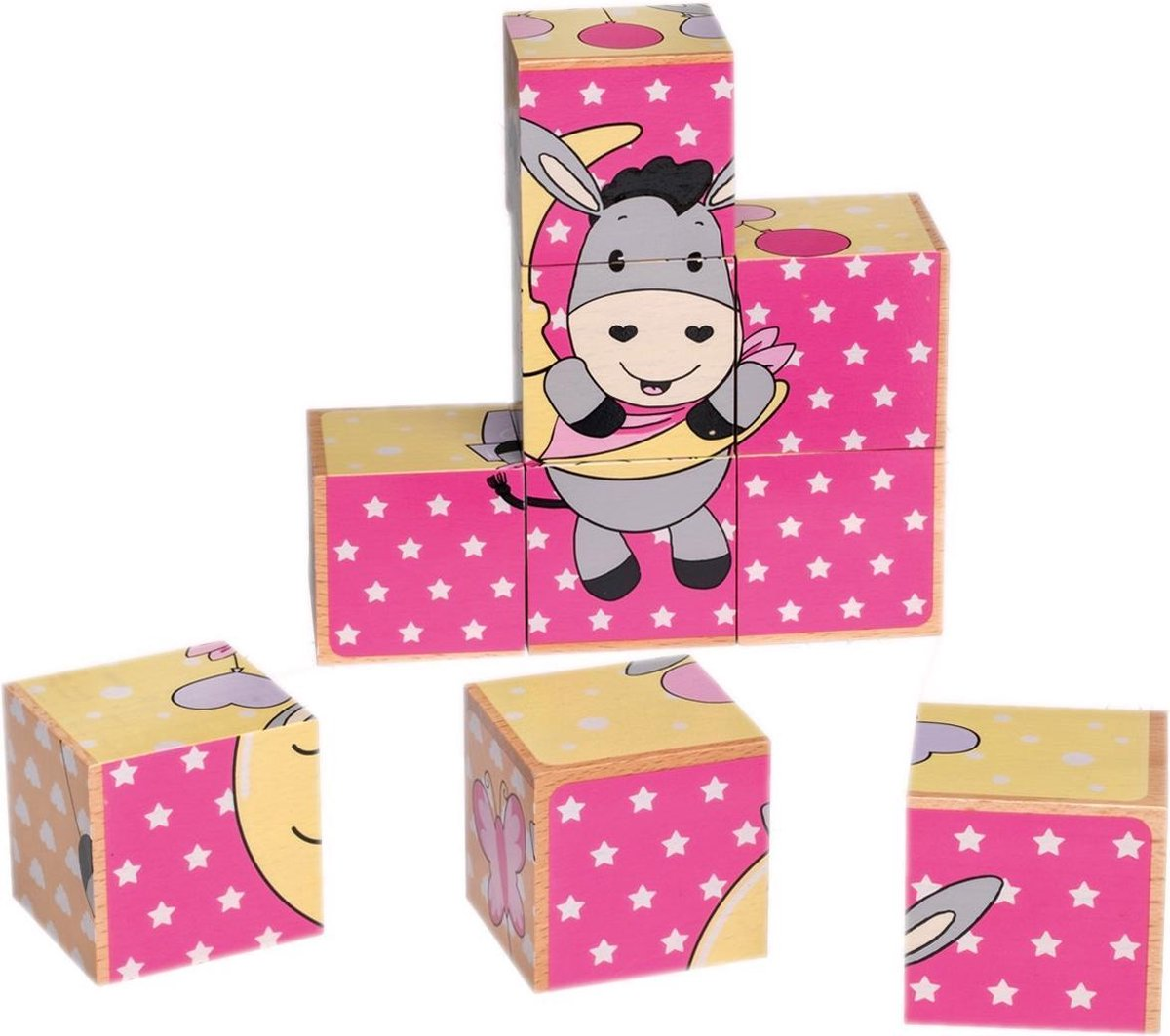 Happy People Houten Puzzelblokken Ezel 9-delig 14 Cm Roze