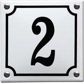 Emaille huisnummer wit/zwart nr. 2
