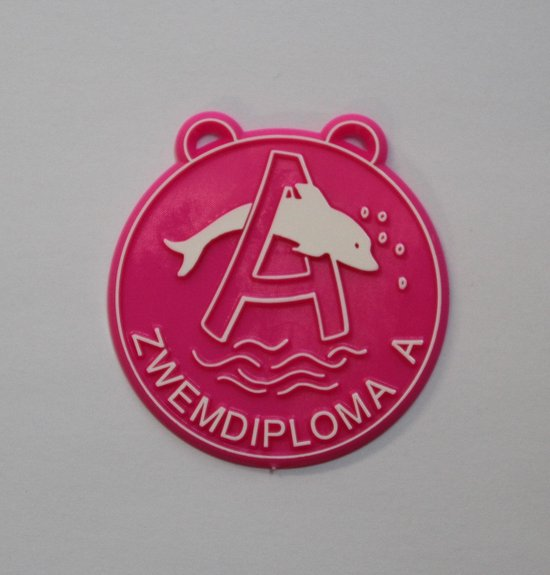 Medaille zwemdiploma A - Roze