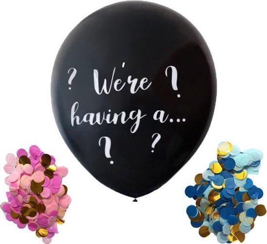 XL Gender Reveal Ballon confetti | Babyshower | Confettiballon meisje / jongen | 90cm