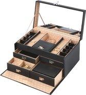 Treasury Deluxe Sieradendoos - Luxe Juwelendoos met spiegel - Opbergbox kunstleder - Deluxe Zwart