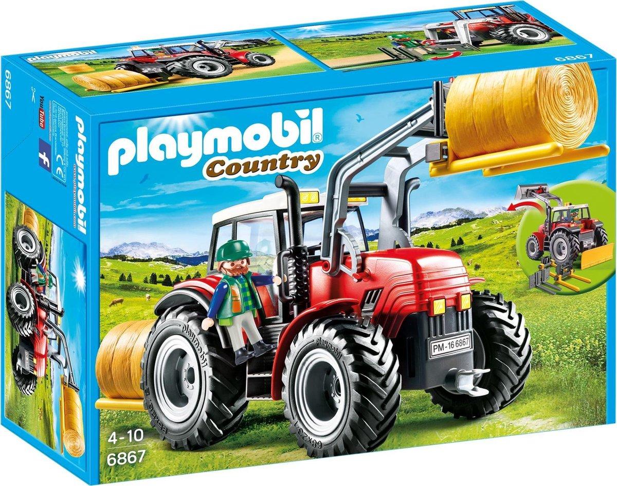 PLAYMOBIL Country Grote Rode Tractor Met Werktuigen - 6867