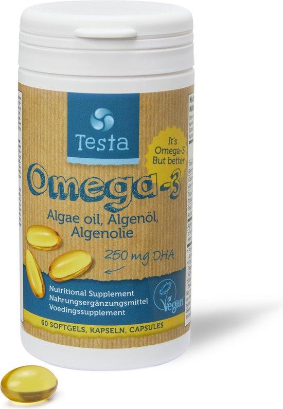 Testa Omega 3 Algenolie. Hoogste concentratie Vegan Omega-3 DHA 250mg. 60 Capsules Plantaardig