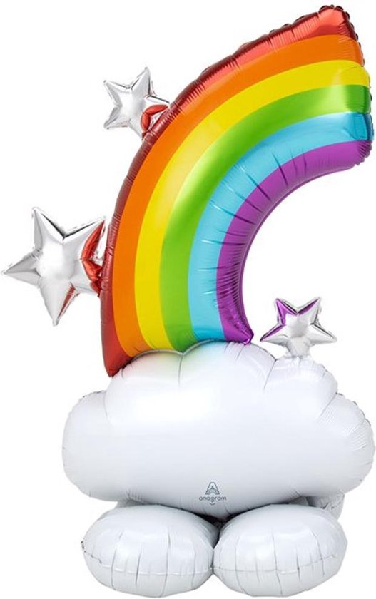 Folieballon op standaard Regenboog - 130 cm