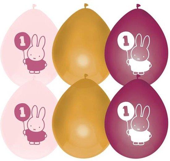 Ballonnen Nijntje Meisje Roze Goud - 6 stuks