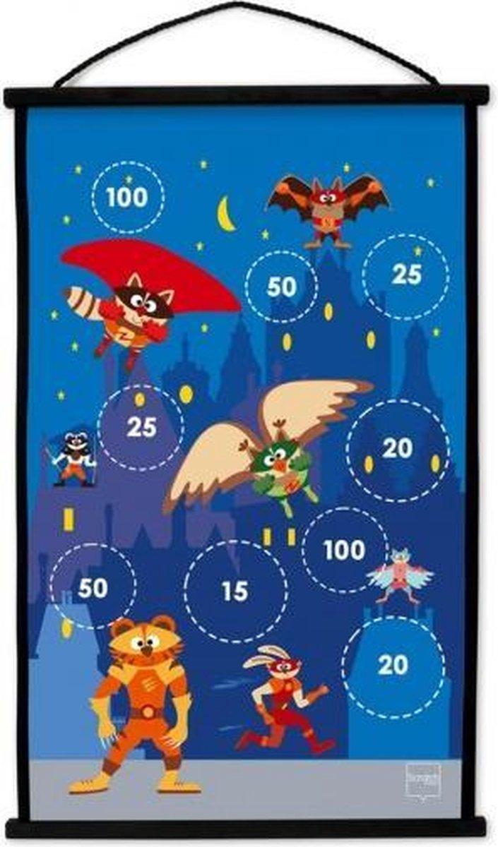 dartbord Superhelden 2-zijdig 60 x 38 met 6 dartpijlen
