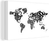 Canvas Schilderij Wereldkaart - Zwart - Wit - Woorden - 120x80 cm - Wanddecoratie