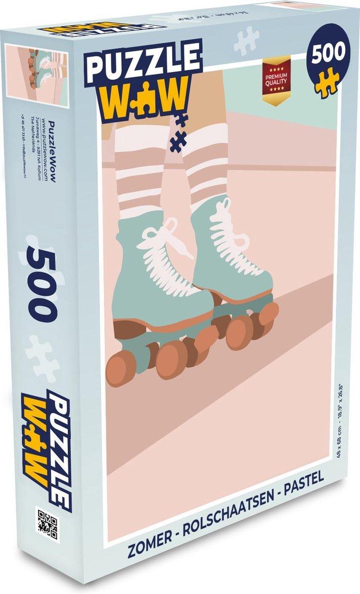 Puzzel Zomer - Rolschaatsen - Pastel - Legpuzzel - Puzzel 500 stukjes
