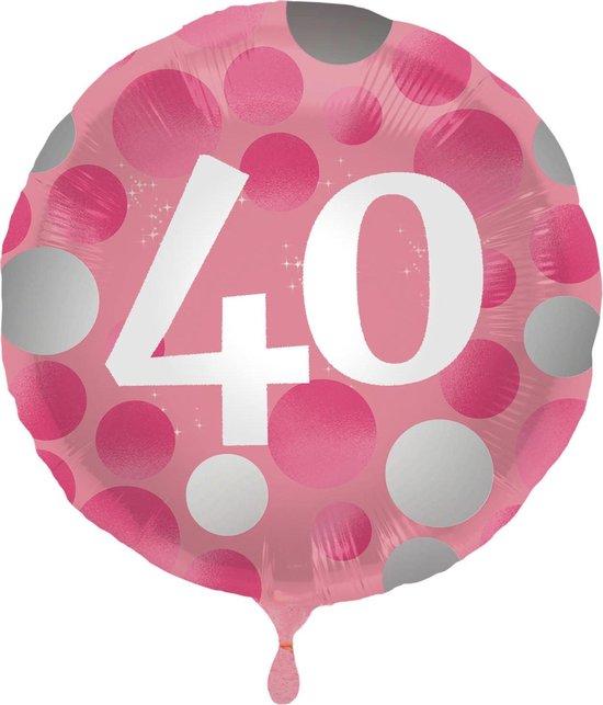 Folat Folieballon 40 Jaar 45 Cm Roze/wit