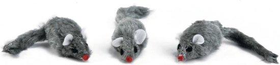 Plush muisje grijs - zakje 3st 5 cm