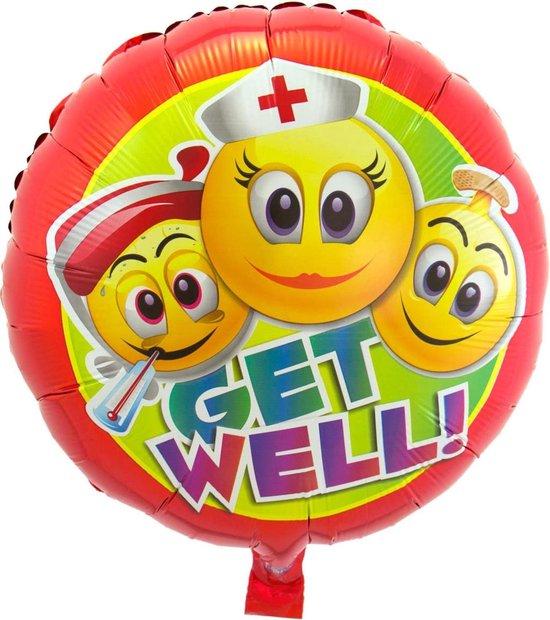 Folieballon - Get well - Emoticon - 43cm - Zonder vulling