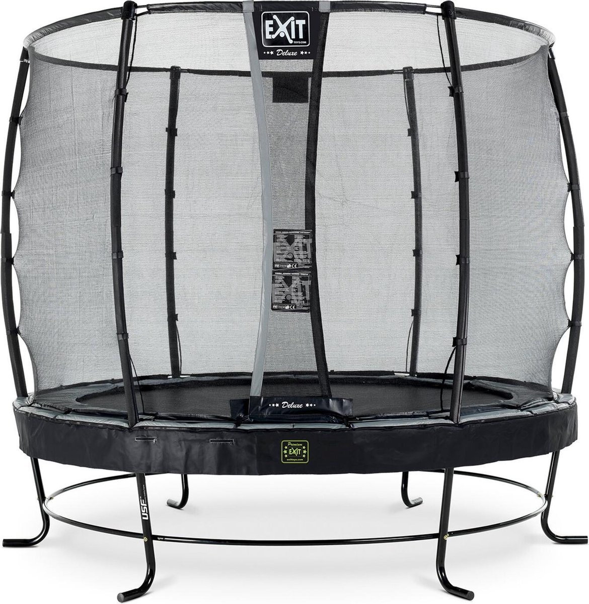 Trampoline EXIT Elegant - Premium ø253cm zwart + net