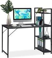 relaxdays bureau - computertafel - modern design - met rek - laptopbureau - 4 planken