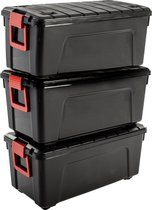 IRIS Store It All opbergbox - 75L - 3 Stuks- Zwart/Rood