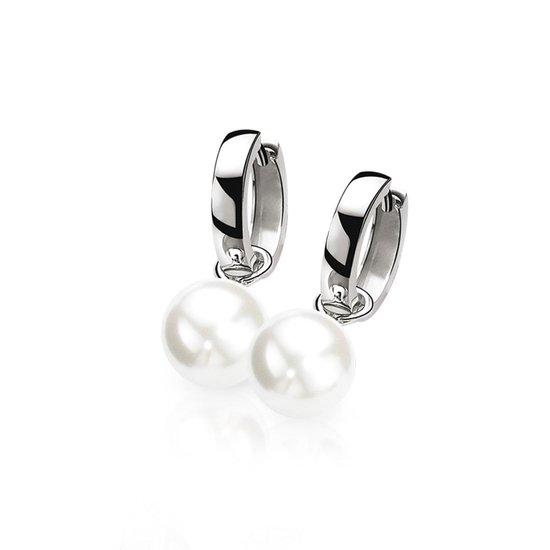 ZINZI oorringen inclusief oorbedels - ZIO191 + ZICH266W - Zilver- 15x3 mm - dames