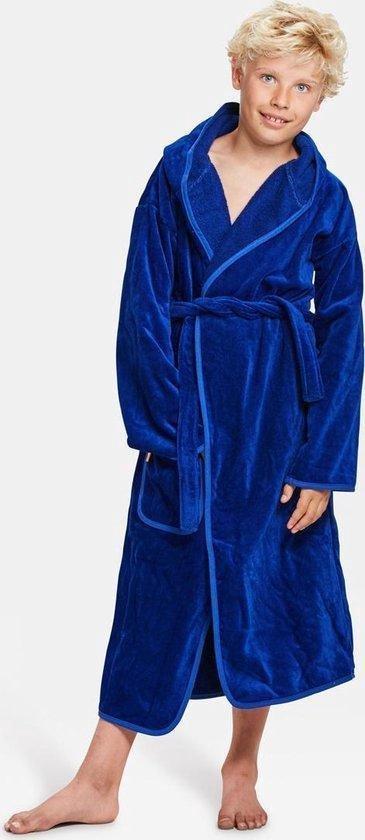 Kinderbadjas kobalt 12-14 jaar - capuchon badjas kind - katoen - Badrock