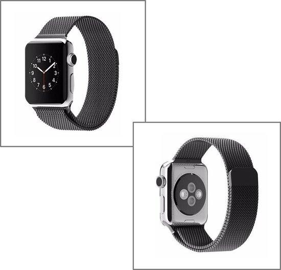 Milanees voor apple watch - 38mm / 40mm RVS - Zwart - magneetsluiting gemaakt van rvs