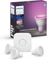 Philips Hue Starterspakket GU10 Spot Lichtbron met Bridge - White and Color Ambiance - 3 x 5,7W - Bluetooth
