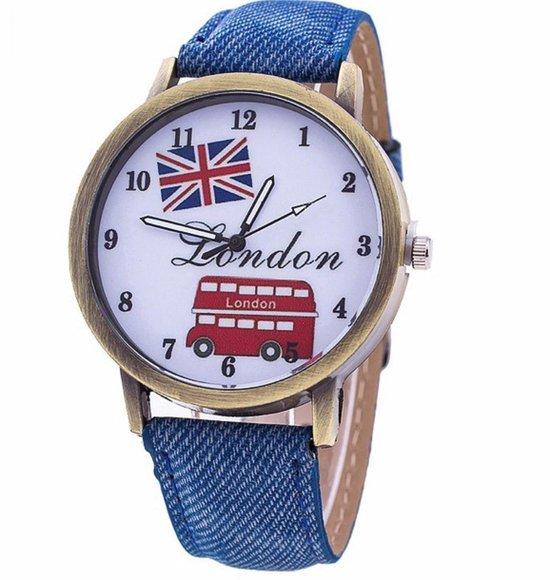 Hidzo Horloge London Ø 40 - Blauw - In Horlogedoosje