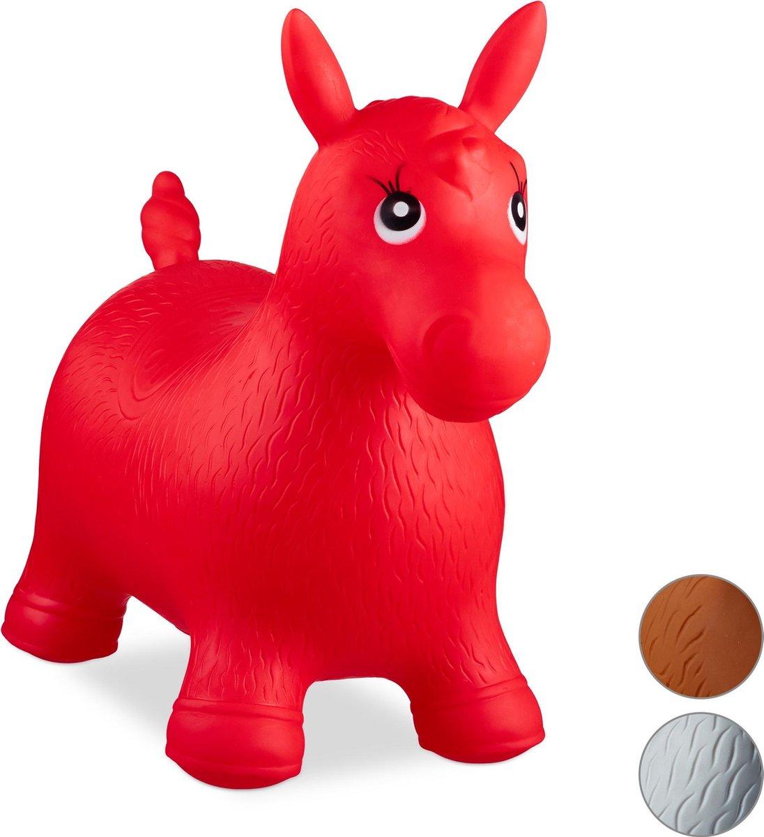 relaxdays Skippy dier paard - skippydier - skippyball - skippybal paard - 50 kg - kinderen rood