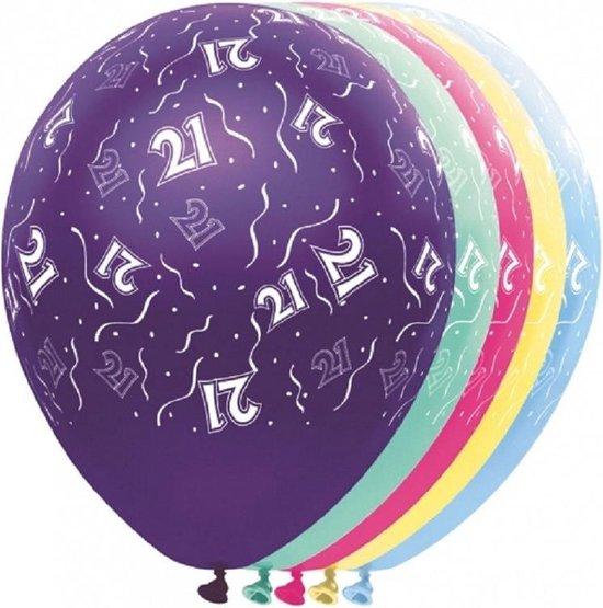 10x stuks Helium leeftijd ballonnen 21 jaar versiering/feestartikelen/verjaardag - formaat 30 cm