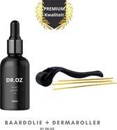 DR.OZ™ PREMIUM baardgroei olie + Dermaroller - 50 ml - Baardolie voor baardgroei - Baardverzorging set - Baardolie - Baardgroei olie - Baard roller - Dermaroller - Baardgroei middel - Anti aging - Jade roller - Baard - Vitamine