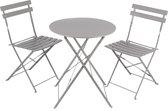 Bistro set Riviera - 2 stoelen - tafel - grijs