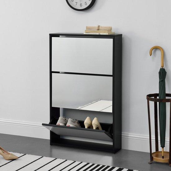 Schoenenkast met spiegels 3 vouwdeuren 102,5x63x17 cm zwart