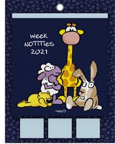 VIS weekkalender of weekplanner 2021 - + Post-its plakbriefjes - 19.5 x 25.5 cm - lannoo - per week 1 pagina
