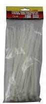 Kabelbinders - Tie ribs - Tie wraps - Ty Raps - 200 x 3,6 mm - Wit - 100 Stuks