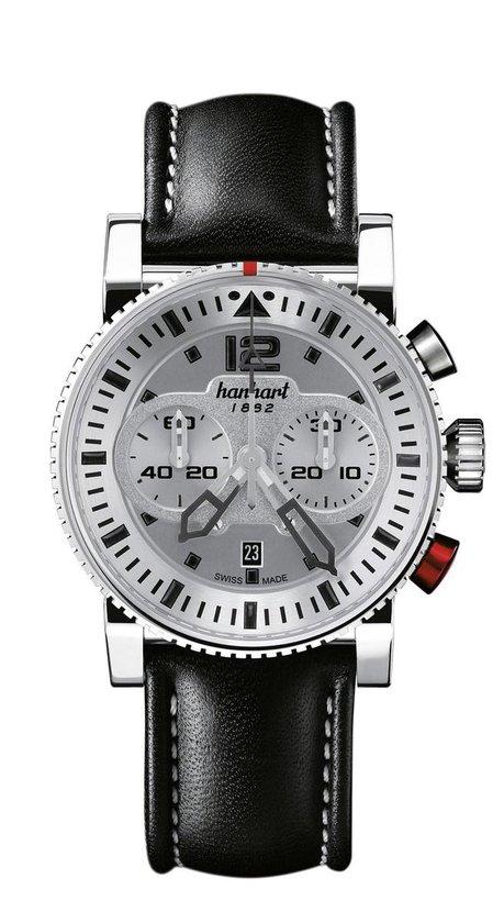 Hanhart PRIMUS Racer Horloge Staal Zilver, zwarte band