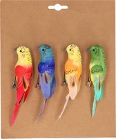 4x Kerstboomversiering vogels op clip gekleurde papegaaien 14 cm- Kerstboom decoratie vogels