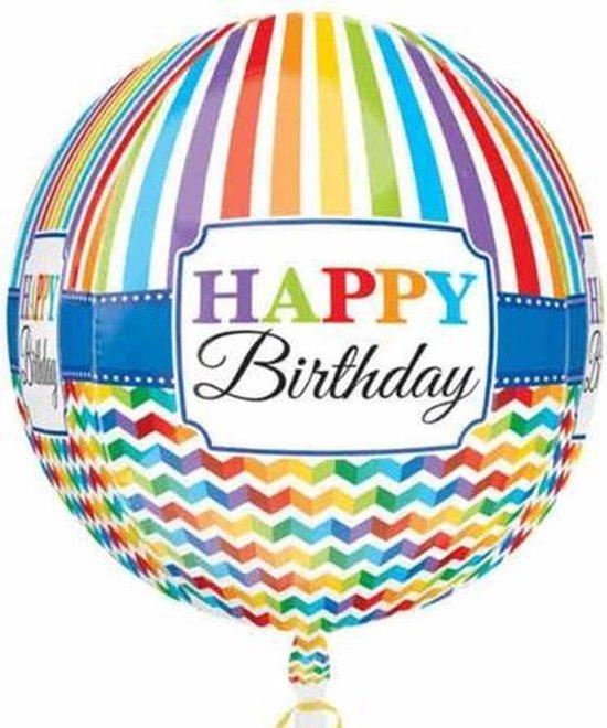 Folie cadeau sturen helium gevulde orbz ballon Gefeliciteerd/Happy Birthday rond 40 cm - Folieballon verjaardag versturen/verzenden
