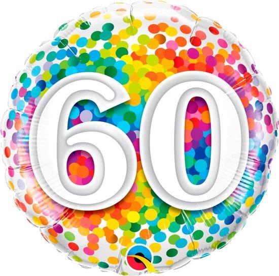 Folie cadeau sturen helium gevulde ballon 60 jaar confetti 45 cm - Folieballon verjaardag versturen/verzenden