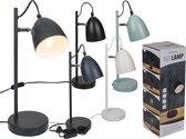 Tafellamp/bureaulamp grijs metaal - Schemerlamp 37 cm - E14 - Schemerlampen/bureaulampen