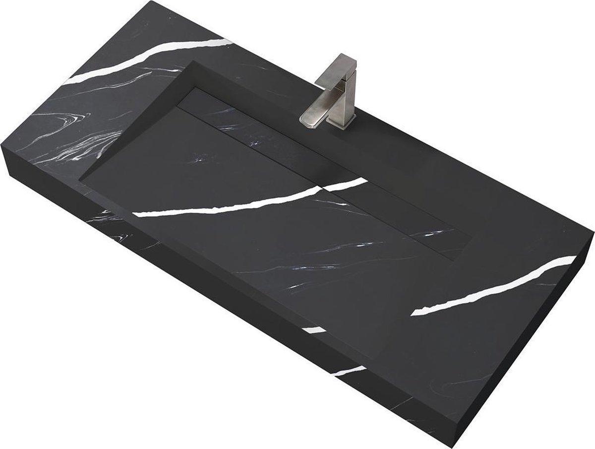 Wastafel Hangend Marble Rechthoek 120.2x45.2x8cm Solid Surface Marmerlook Zwart Zonder Kraangat