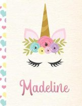 Madeline: Personalized Unicorn Primary Handwriting Notebook For Girls With Pink Name - Dotted Midline Handwriting Practice Paper