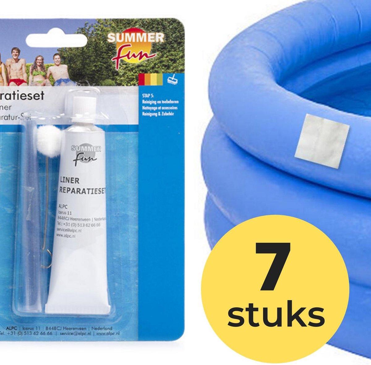 7x Zwembad Onderhoud - Liner Lijm Plakkers Reparatie Set - Geschikt voor Opblaasbaar Zwembad en speelgoed - Pless®