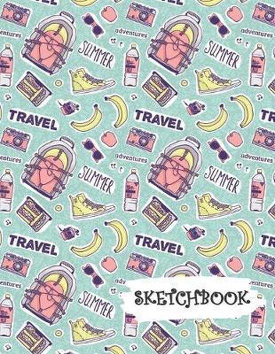 Sketchbook: Backpack Travel Fun Framed Drawing Paper Notebook