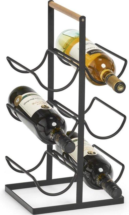 1x Zwart industrieel wijnflessen rek/wijnrekken staand voor 6 flessen 46 cm - Zeller - Keukenbenodigdheden - Woonaccessoires/decoratie - Wijnflesrekken/wijnflessenrekken/wijnrekken - Rek/houder voor wijnflessen