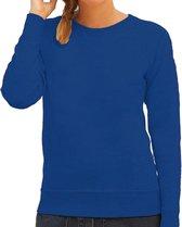 Blauwe sweater / sweatshirt trui met raglan mouwen en ronde hals voor dames - blauw - basic sweaters L (40)