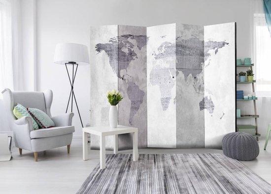 Vouwscherm - Wereld op beton  225x172cm - karo-art