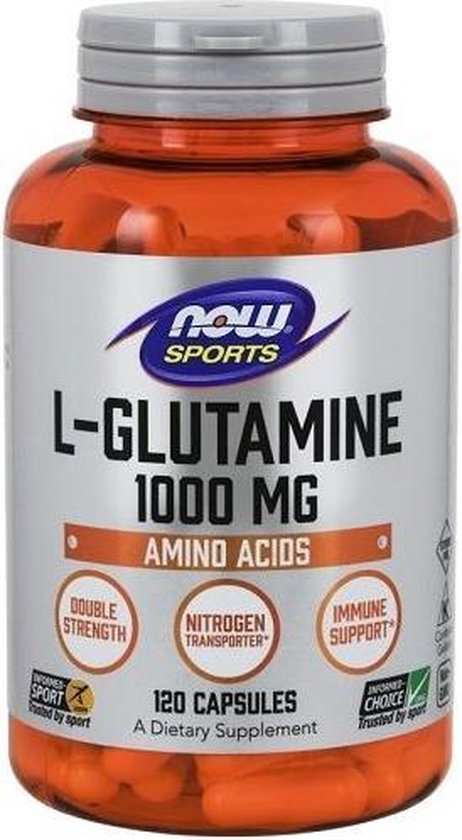 Now Foods Voedingssupplementen L-Glutamine, Dubbele Dosering, 1000 mg (120 Capsules) - Now Foods