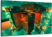 Canvas schilderij Abstract | Blauw, Groen, Rood | 140x90cm 1Luik