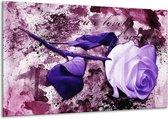 Canvas schilderij Roos   Paars, Wit, Roze   120x70cm 1Luik